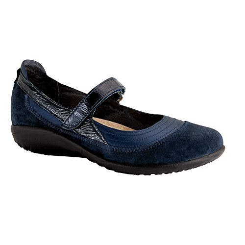 Naot Kirei Koru Women Flats Shoes, Polar Sea/Blue Velvet/Navy Pat,Size - 43 - Sea Velvet