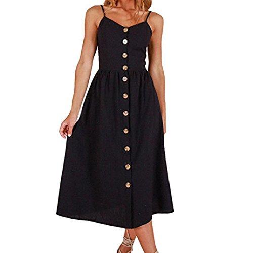 - Elogoog Hot Sale Women's Summer Spaghetti Strap Solid Color Button Down Flowy Swing Sleeveless Party Midi Dress Sundress (Black, L)