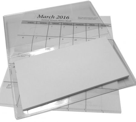 2018-19 Pocket Calendar Planner Vinyl Cover with White Cover Stock & Note Pad (Vinyl Pocket Planner)