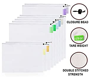purifyou Premium Reusable Mesh / Produce Bags, Set of 9 | Superior Double-Stitched Strength, with Tare Weight on Tags | Lightweight, See-Through, Large, Medium & Small