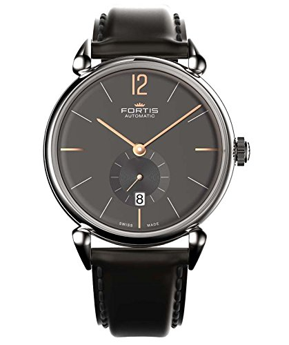 Fortis Terrestis Orchestra PM Classical Modern Date Automatic Anthracite Dial Black Leather Mens Watch 900.20.31 L01