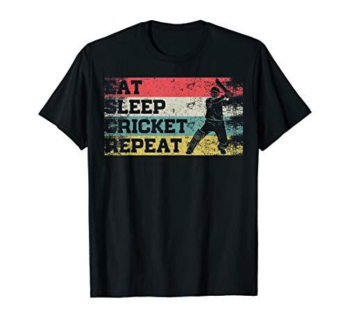 Cricket Player T-shirts - Vintage Retro Eat Sleep Cricket Repeat Funny Sport Player T-Shirt