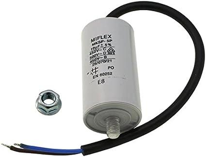Condensador de Arranque, Condensador para Motor, 10µF, 450V, 35 x 65mm, Cable M8; Miflex; 10uF