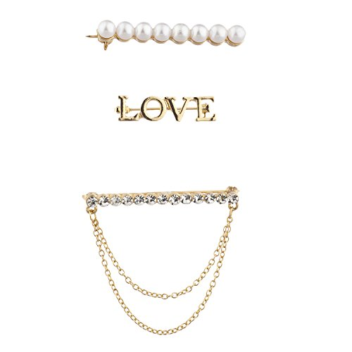 Tiffany Pearl Brooch - Lux Accessories Gold Tone Faux Pearl Rhinestone Love Novelty Brooch Pin Set 3PC