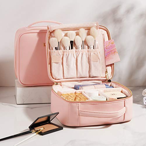 "BEGIN MAGIC 10"" Makeup Bag Travel Makeup Train Case Professional Makeup Organizer Bag Small Portable Cosmetic Organizer Case with Compartment - PINK"