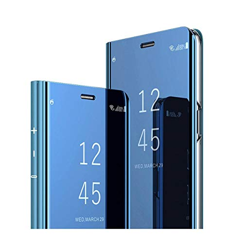 Case for Samsung Galaxy A10/A20 Mirror PC+PU flip Plating 360 Degree Protective Case Clear View Covered Folio Metal Plating Smart Bracket Blue