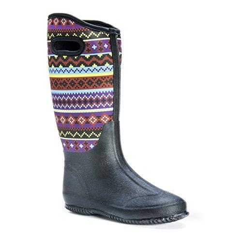 Muk LUKS Women's Karen Sweatervest Black Rain Boot Black Multi