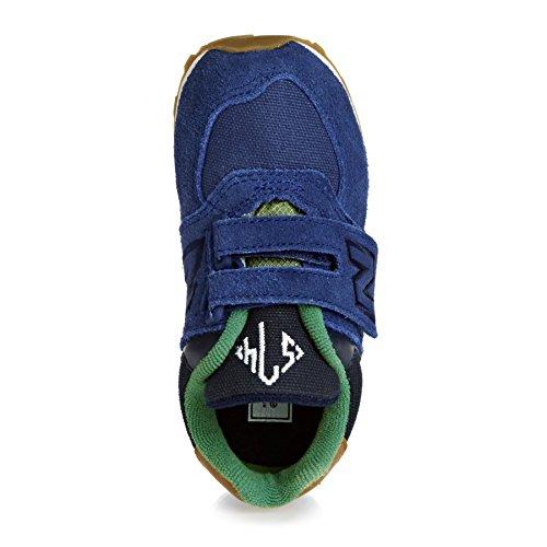 NEW BALANCE - Zapatilla deportiva azul marino y verte, en gamuza y tela, con velcro, con logo lateral y posterior, Niño, Niños Azul