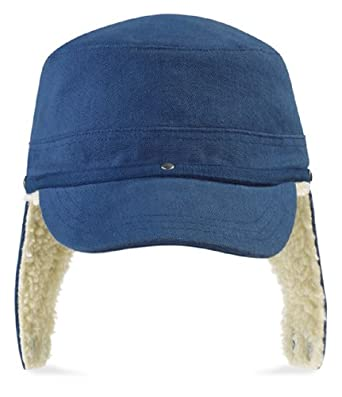 baseball cap ear flaps winter wool hat with denim blue fleece lined warm flap