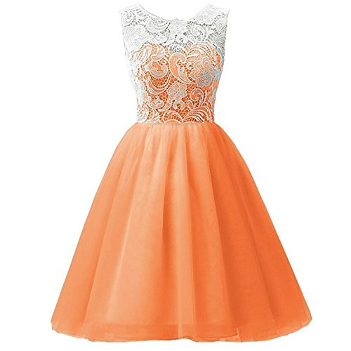 Puffy XIU Vestido RONG Chiffon Encaje Falda orange Niños Vestido Niña qfA1Zqw