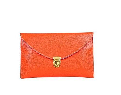 WEIYI Fashion Ladies Envelope Leather Clutch Purse Handbag with Retro Chain-Orange