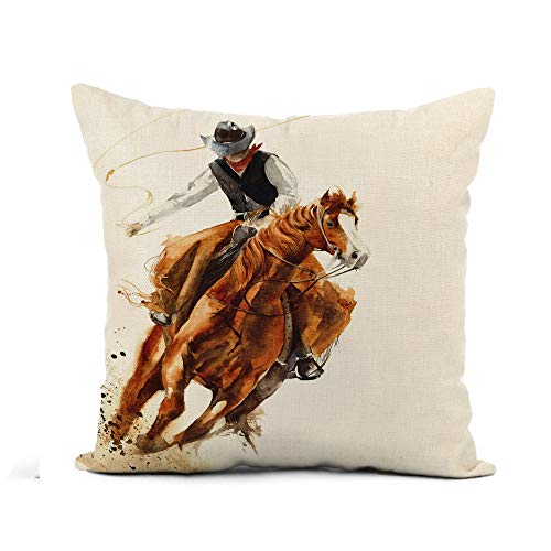 Awowee Flax Throw Pillow Cover Rodeo Cowboy Riding Horse Ride Calf Roping Watercolor Painting 18x18 Inches Pillowcase Home Decor Square Cotton Linen Pillow Case Cushion Cover