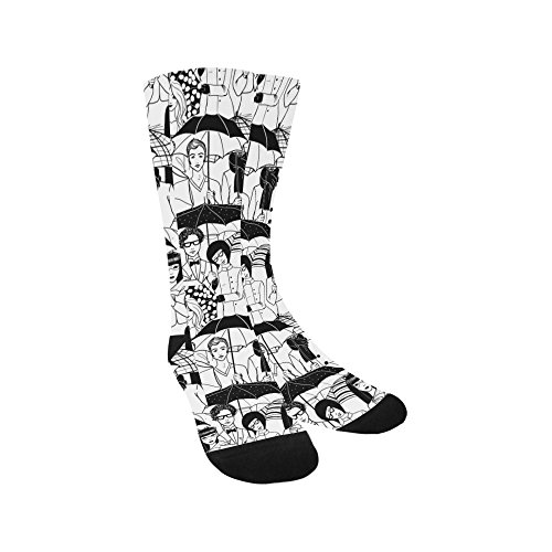 Artsadd Unique Debora Custom Unisex Hosiery Knee-High Socks People Under Umbrella from Artsadd