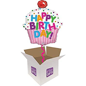 InterBalloon Helium Inflated 31quot Happy Birthday Cupcake Balloon Delivered