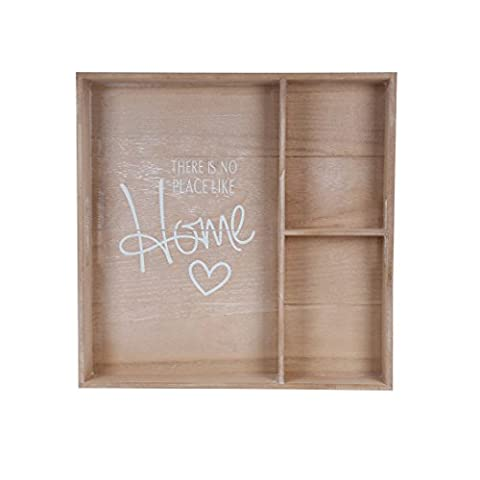 Blu Monaco Wood Serving Tray with Carrying Handles – Natural Square Divider Country – There's No Place Like Home