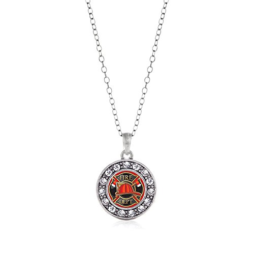 Inspired Silver Fire Department Badge Circle Charm Necklace Clear Crystal Rhinestones