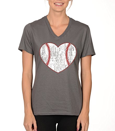 SignatureTshirts Women's Baseball Heart V-Neck T-Shirt M (Heart Baseball T-shirt)