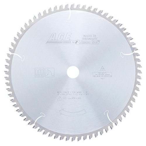 Amana Tool A.G.E. Series MD12-726TB Thin Kerf Sliding Compound Miter & Radial Arm 12-Inch x 72 Tooth ATB 1-Inch Bore Saw Blade Industrial Radial Arm Saw