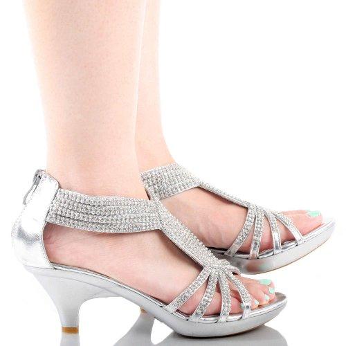 ab6740ddce0 JJF Shoes Angel37 Silver Strappy Rhinestone Dress Sandal Low Heel ...