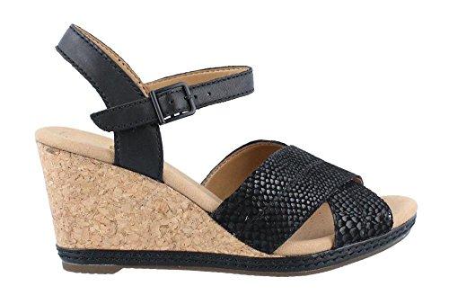 CLARKS Women's Helio Latitude Wedge Sandal, Black Leather, 9.5 M US by CLARKS