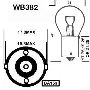 TAIL LIGHT 2 x 382 BRAKE LIGHT INDICATOR CAR BULBS 12V 21w BAY15sSCC