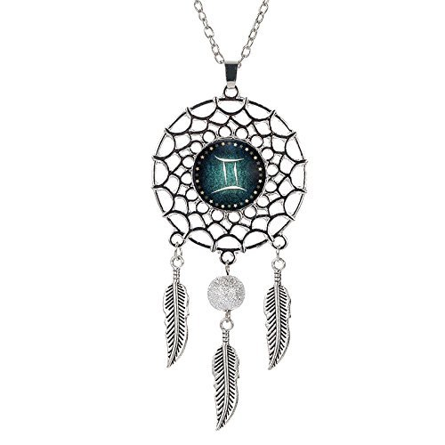 Boltz Mini Zodiac Gemini Sign Dream Catcher Car Charm Rear View Mirror Accessories, Boho Dangling Feather Tassel Bead Pendant Constellation Ornament Wall Hanging Home Decoration (Gemini)