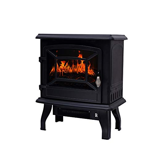 Cheap RKRGQ Electric Fireplace Fireplace Stove Heater Electric Stove Fire Log Burner Electric Fire Stove Electric Fireplace Heater with Realistic Flame Effect Overheat Protection1400W (432x254x515mm) Black Friday & Cyber Monday 2019