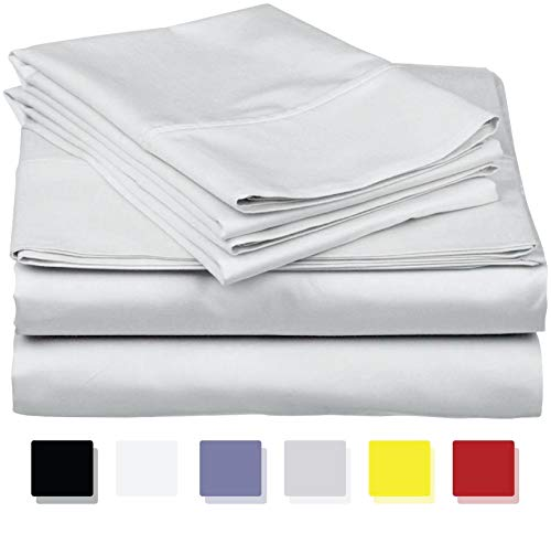 400-Thread-Count 100% Cotton Sheet Light Grey Queen-Sheets Set, 4-Piece Long-staple Combed Cotton Best-Bedding Sheets For Bed, Breathable, Soft & Silky Sateen Weave Fits Mattress Upto 18'' Deep Pocket