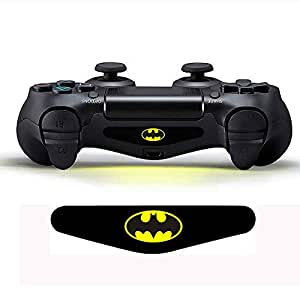 For PS4 Controller - Light Bar Decal Batman Sticker with Convex Silicone XL Tall Thumb Caps