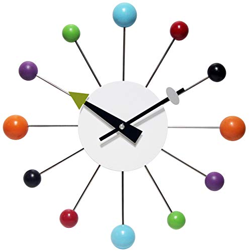 Infinity Instruments Orb Spoke Midcentury Modern 15 inch Retro Starburst Ball Wall Clock Quiet Quartz Movement Mid…