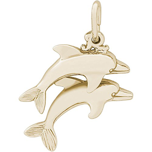 Gold Dolphins Two (Rembrandt Charms 10K Yellow Gold Two Dolphins Charm (0.56 x 0.8 inches))