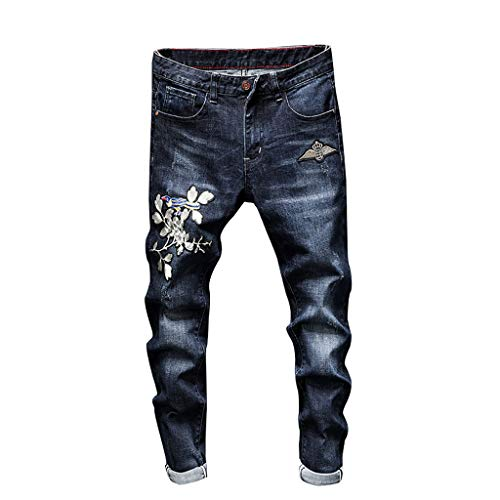 VEZAD Slim Fit Denim Pants Fashion Men's Casual Personality Printing Jeans