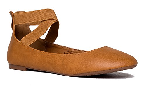 Ballet Flats Comfy (J. Adams Elastic Cross Strap Slip On - Comfortable Closed Toe Ballet - Low Ankle Strap Shoe - Kelli by)