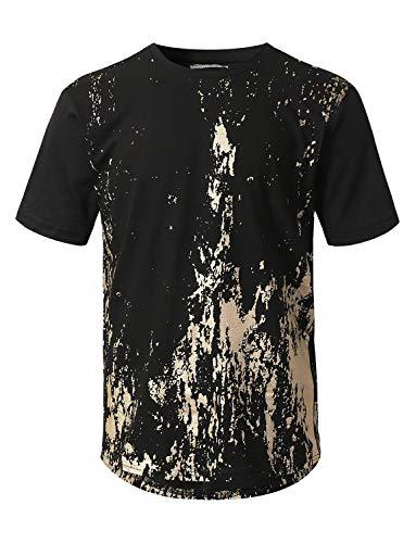 URBANCREWS Mens Hipster Hip Hop Gold Grunge Printed T-Shirt Black Medium