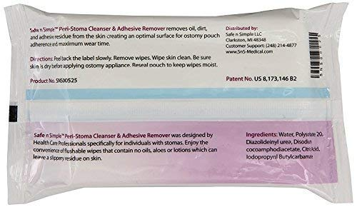 Safe n Simple SNS00525 Stoma Wipes / Adhesive Remover - Pack of 50