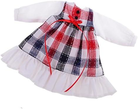 12インチ ブライスドールのため 人形 ファッション服 長袖 チェック柄 ドレス