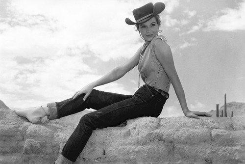 Angie Dickinson in Rio Bravo pin-up pose in sleeveless blouse jeans & stetson on wall 24x36 Poster from Silverscreen