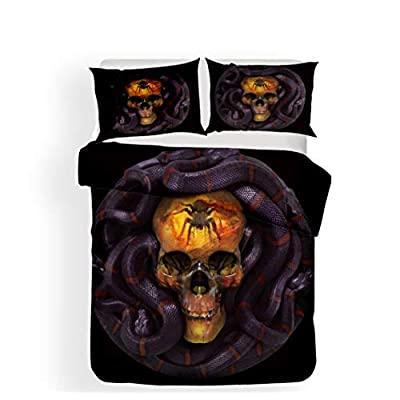 PATATINO MIO Death Skull Duvet Cover Queen Size 3D Microfiber Spider Skull Surrounding by Snake Black Bedding Set for Adults Boys Girls 3 Pieces with 1 Duvet Cover 2 Pillow Sham: Home & Kitchen