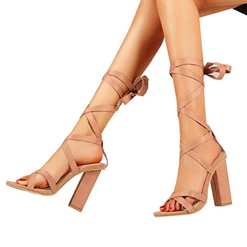 668b65c360e JJLIKER Women Gladiator Sexy Lace-up Thick High Heel Pumps Summer Fashion  Cross Strappy Sandals