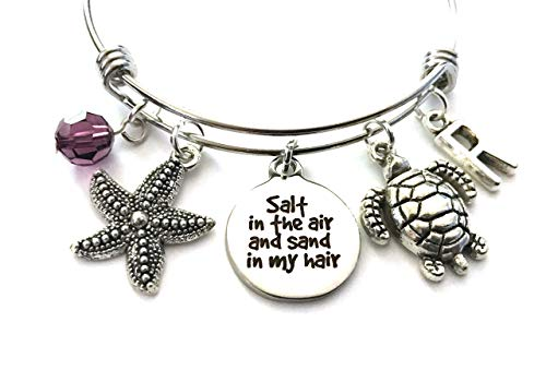 (Salt in the air and sand in my hair themed personalized bangle bracelet. Antique silver charms and a genuine Swarovski birthstone colored element.)