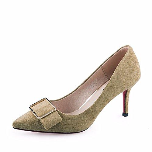 Fin Nouvelle Talon Mode Chaussures Satin En Simple Lumière Hxvu56546 nbsp;la Haut Pointue Femme Jaune D'automne Avec FRwqq7S4