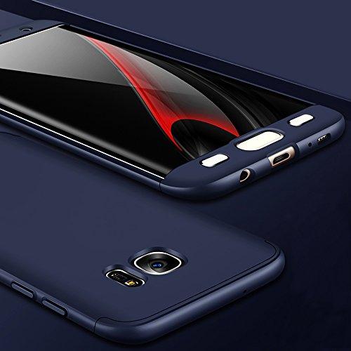 Funda Samsung Galaxy S8, Galaxy S8+ Funda Case, PLECUPE la moda Ultra Thin Desmontable 3 en 1 Dura PC Plástico Case Cárcasa Caja Cover, Ultra Delgado Fino 360 Grados Integral Cobertura Completa Anti R Azul oscuro