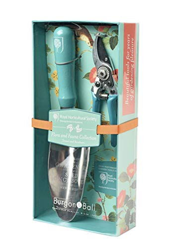 Burgon & Ball Garden Trowel & Pocket Secateurs Pruner Set in Flora & Fauna Design | British RHS Gradening Tools Gift Set (Trowel Garden Engraved)