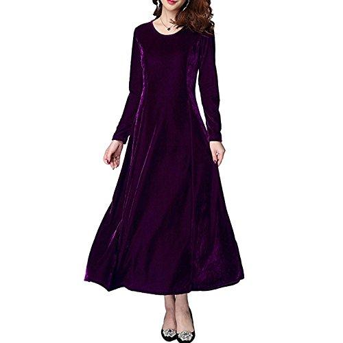 Donna Autunno Elegante Fit Sera Slim Vintage Velluto Manica Abito Primavera Cocktail Donna da Vestito per QQI Viola Lunga Lunga xwPFSOYP