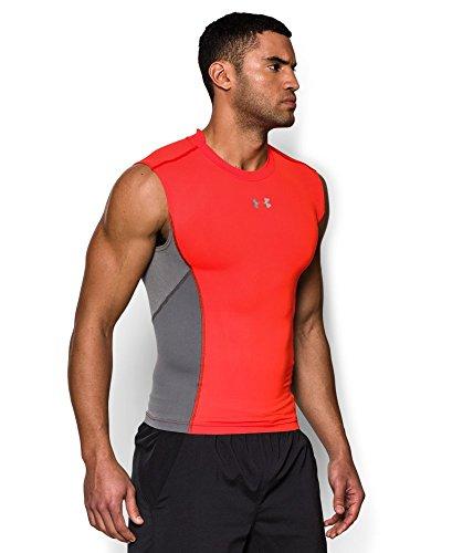 Under Armour Men's UA HeatGear® Armour® Stretch Sleeveless Compression Shirt Small BOLT ORANGE
