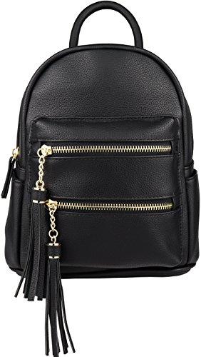(B BRENTANO Vegan Multi-Zipper Top Handle Mini Backpack with Tassel Accents)
