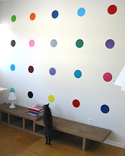 BLIK Sweet 16 Spots Polka Dot Spots Removable Wall Decals | Assorted Colors | Set of 16 Decals | 5.75 Inch Diameter Each