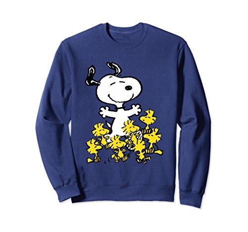 Unisex Peanuts Snoopy chick party Sweatshirt Medium Navy - Snoopy Chicks