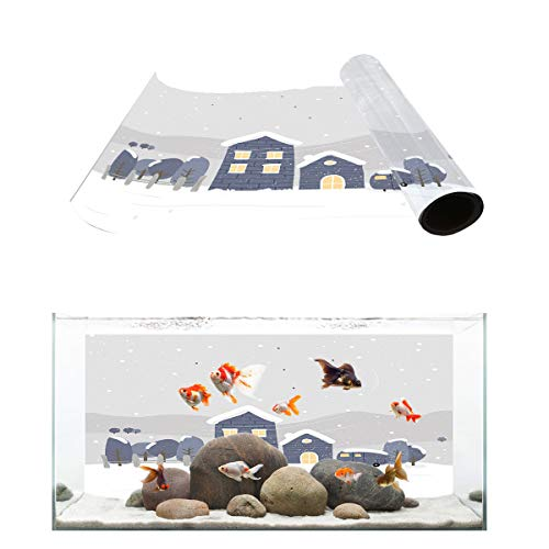 Fantasy Star Aquarium Background Windy Snow Stone House Fish Tank Wallpaper Easy to Apply and Remove PVC Sticker Pictures Poster Background Decoration 24.4