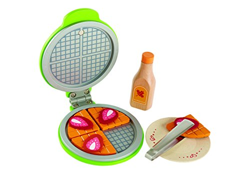 Hape Instant Waffles Kid's Wooden Kitchen Play Food Set and Accessories (Kids Toy Meal)